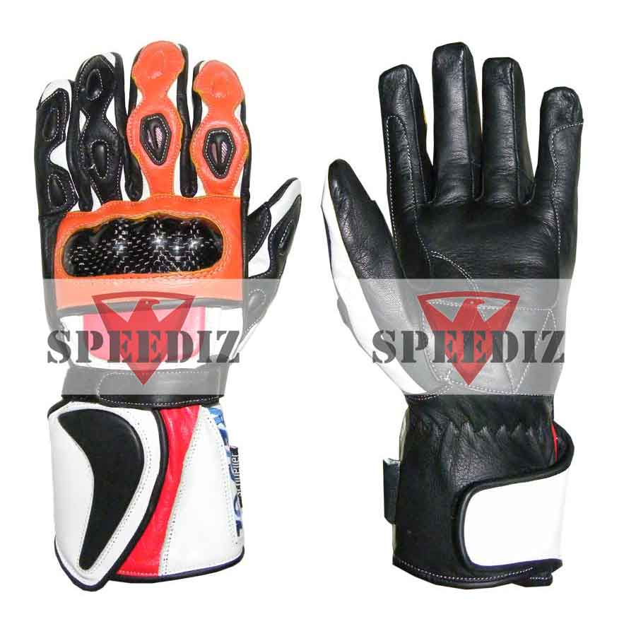 Leather Professional Gloves Motorcycle knuckles Protection Motorbike White 3XL